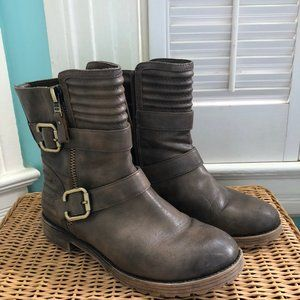 Brown Faux Leather Moto Boots